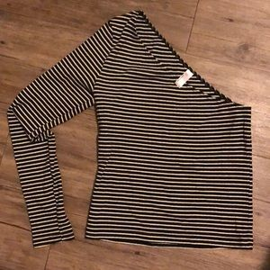 American Apparel one sleeved striped shirt